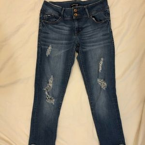 Evermore dark wash ripped cuffed jeans